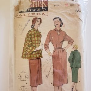 Vintage Butterick Sewing Pattern 5875 50s